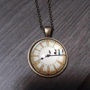 New peter pan necklace Disney gold
